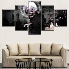 5 Panel Tokyo Ghoul Ken Kaneki Anime Poster Wall Decorative Picture Canvas Art HD Print Painting Home Living Room