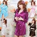 Las mujeres Túnica de Raso De Seda Albornoz Bata Pijama Sexy de Talla grande camisón de La Correa Bata de Encaje Con Tanga Azul Rosa Negro Mujeres Robe