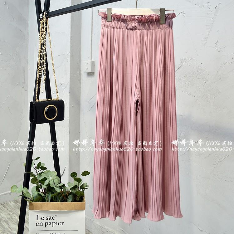 2019 Summer High Waist Lace Up Waist Pleated Pants Women Loose Wide Leg Chiffon Pants Lady Lace Up Waist Ankle Length Pants 41