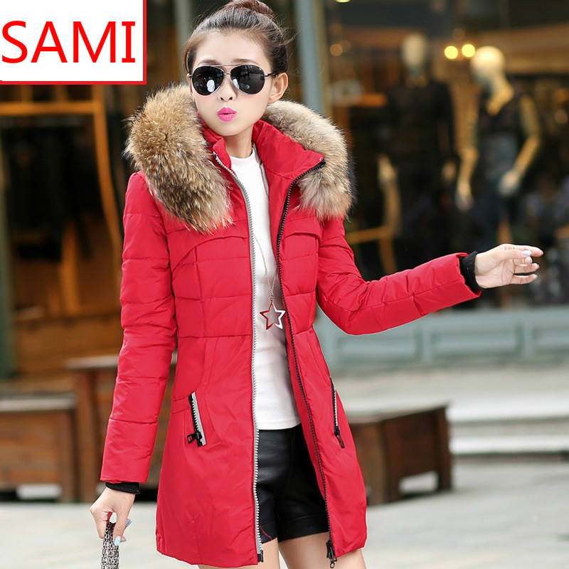 2015 new red winter jacket women full sleeve slim womens down ...