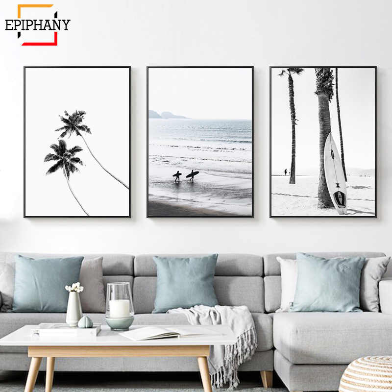 Modern Surf Art Posters Gallery Wall Art Beach Print Ocean Coastal Decor Palm Tree Landscape Wall Pictures for Living Room