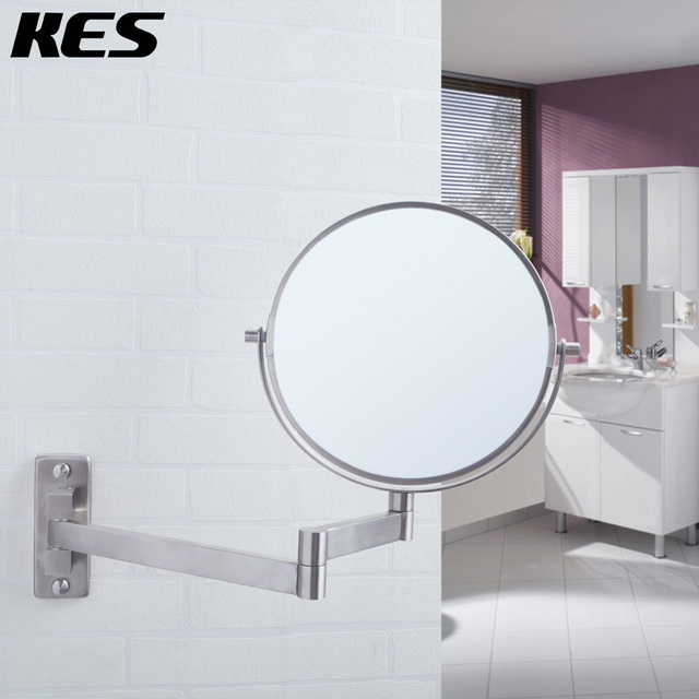 KES SUS304 Stainless Steel Bathroom 5x Magnification Two Sided Swivel Wall Mount Mirror 8