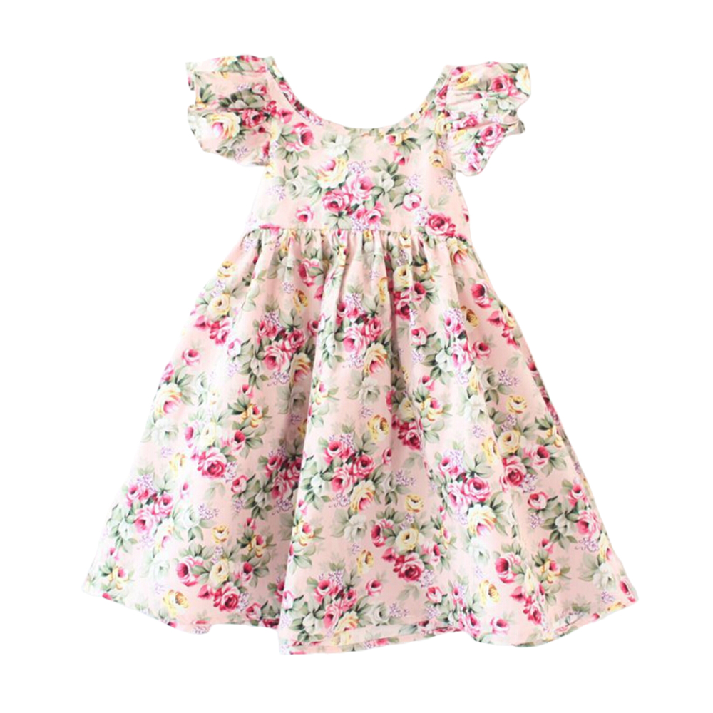 summer dress for baby girls clothes print vintage floral New 2016 baby girls clothes Dresses for Girls Birthday Party Size 2-6T