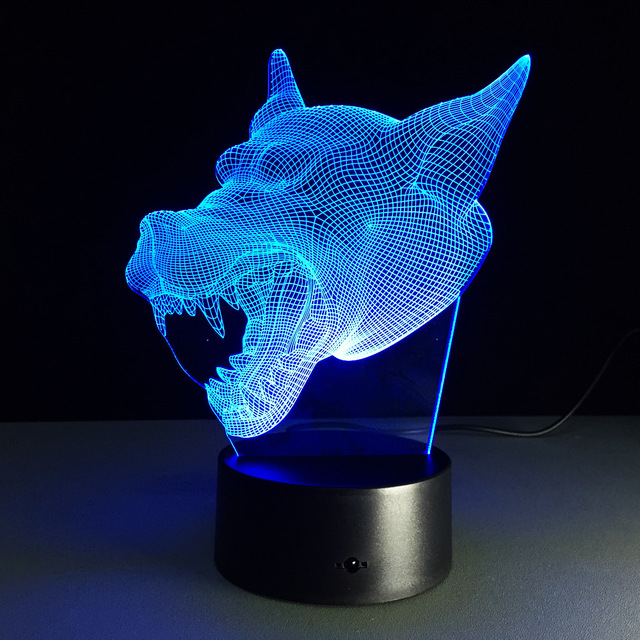 3D Lamp 7 Color Wolf Led Night Lamps for Kids Touch Led USB Table ...
