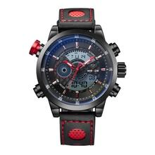 WEIDE 3ATM Reloj Del Deporte Del Cuarzo Digital LCD Dual Time Alarm Fecha Día Cronógrafo Banda de Cuero Correa de Reloj de Los Hombres Al Aire Libre