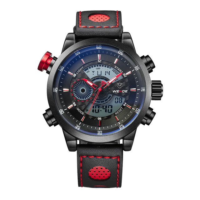 WEIDE Sport Watch 3ATM Quartz Digital LCD Dual Time Date Day Alarm Chronograph Leather Band Strap Outdoor Men Wrist Watch