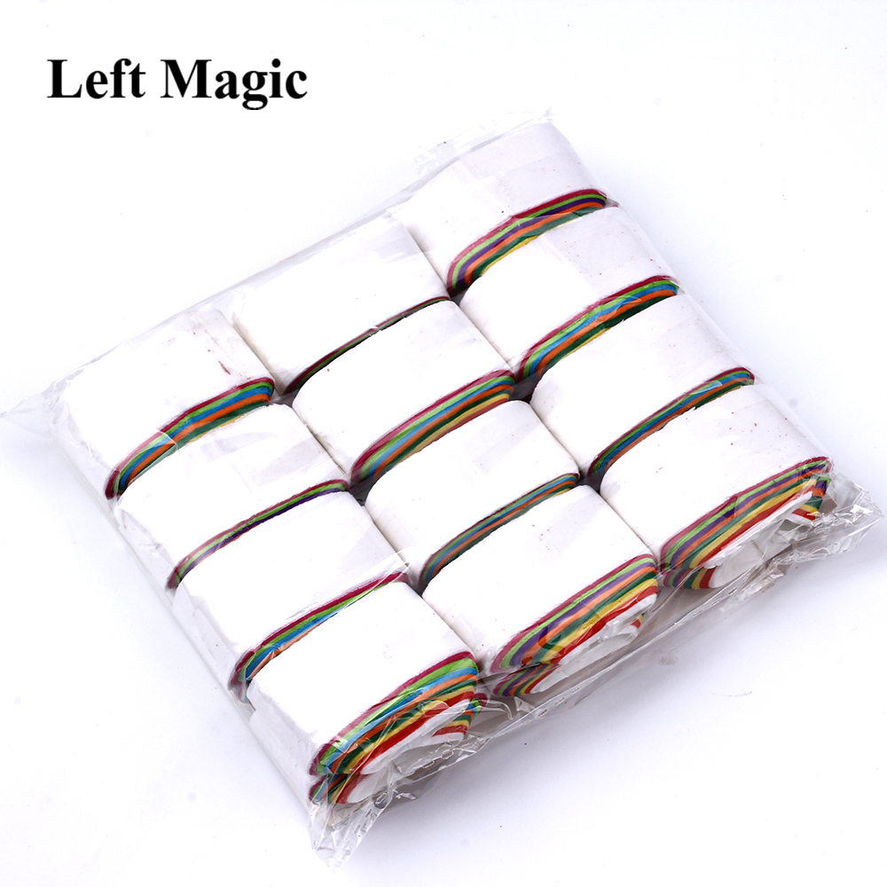 12 Coils/Lot Multicolored Mouth Paper Magic Tricks Colorful Mouth Coils Magic Prop Magician Supplies Illusion Magic Toys
