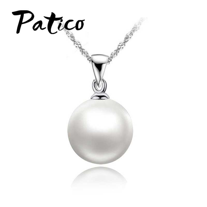 Wholesale 925 Sterling Silver  White Freshwater Pearl Pendant Necklaces 18 inch Singapore Chains for Grace Women Ladies