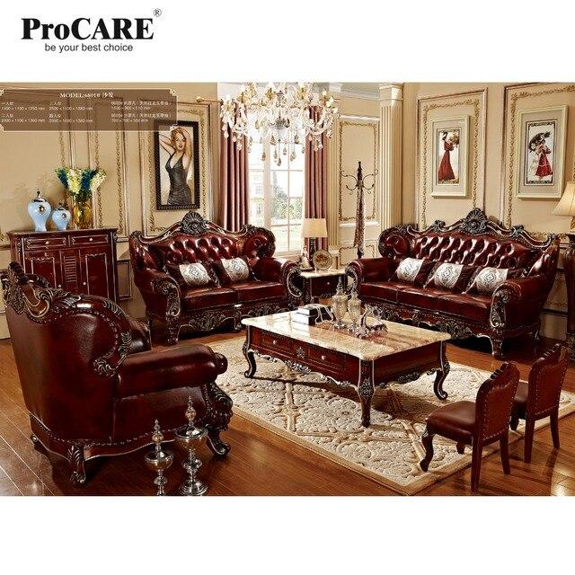 Di lusso 3 diversi set in legno massiccio rosso genuino divani in ...
