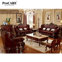 luxury 3 different sets red solid wood genuine leather sofas set living room furniture with coffee table in China PRF6801/05/08