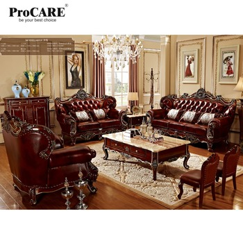 luxury 3 different sets red solid wood genuine leather sofas set ...