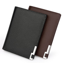 Genuine Leather Men Cowhide Wallets Ultra Thin Short Solid Color  Purse Men Credit Card Holder Black Coffee Clutch Men