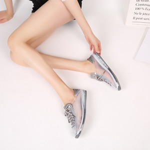 Image 4 - Swyovy zapatillas de deporte con cristales para mujer, zapatos femeninos de plástico brillante, informales, para otoño, 2018