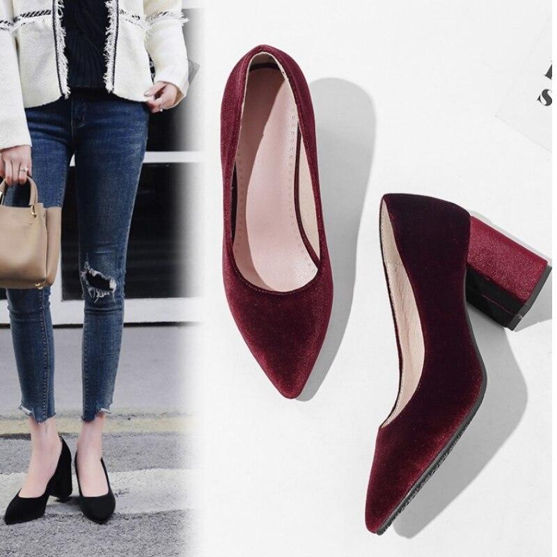 26fdb2a2e61 fanyuan velour velvet classic office woman pumps shoes green burgundy black  stilettos block high heels women shoes size 43