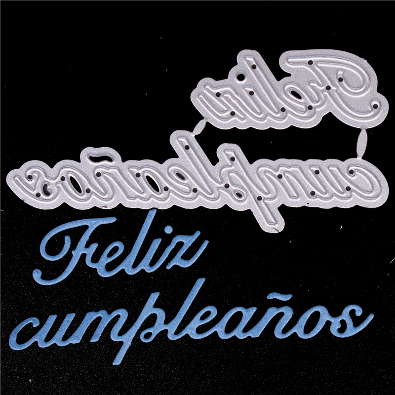 Spanish Word happy Birthd Metal Cutting Dies for Diy Scrapbooking Die Cut New Cuts for Paper Card Making Craft Embossing Photo