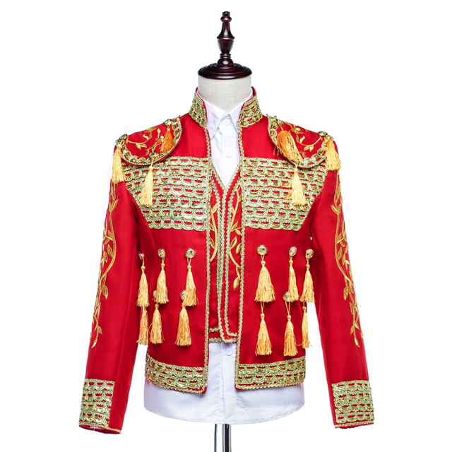 Men's Court Dress Stage Costumes Men Bullfighting Costumes Windbreaker Mens Coats and Jackets Mens Gothic Fashion Hip Hop Jacket