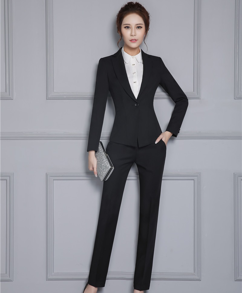 New Professional Slim Fashion Business Work Suits With Jackets And Pants Autumn Winter Ladies Trousers Sets Blazers Outfits
