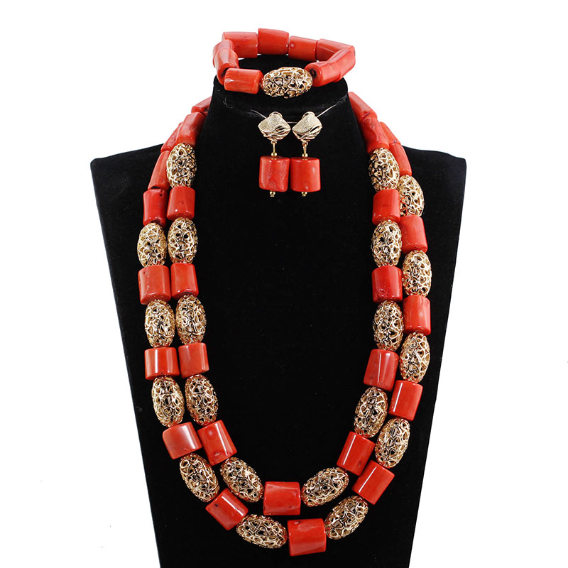 HTB1q1Sub5qAXuNjy1Xdq6yYcVXay 26inches Double Layeres Original Coral Nigerian Wedding Beads Jewelry Set Women Coral Costume Necklace Set CNR892