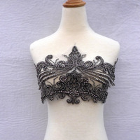1 Piece New Heavy Handmade Rhinestones Grey Lace Triming Big Patch Wedding Dress Accessories 23X45cm
