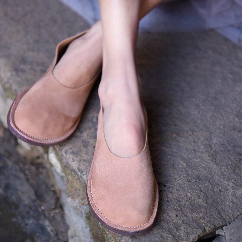 A Cuero yellow Zapatos Suave Gris Moda Diseño Suela De Hecho Mocasines Pisos Vintage Artmu Original Mano rosado Mujer Nuevo Genuino xqCH8wvt4