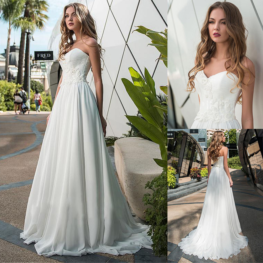 Modest Chiffon Sweetheart Neckline A-line Wedding Dresses With Beaded Lace Appliques Lace Up Bridal Dress Women