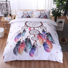 Hot sale Duvet Cover Feather Wind Chime Pattern Floral Bedding Set Hipster Bed Clothes(China)