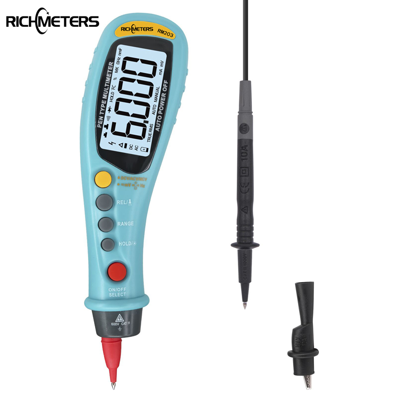 RICHMETERS RM203 Stift Typ Digital Multimeter Auto-Palette True RMS NCV 6000 Zählt AC/DC Spannung Elektronische Meter auto Multimeter