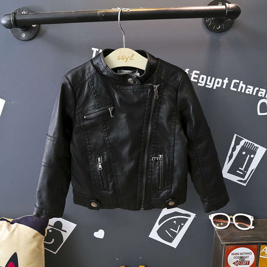 Brand Kids Motorcycle Jacket Outwear Autumn Winter New PU Leather Jackets for Girl Fashion Oblique Zipper Plus Velvet Warm CoatBrand Kids Motorcycle Jacket Outwear Autumn Winter New PU Leather Jackets for Girl Fashion Oblique Zipper Plus Velvet Warm Coat