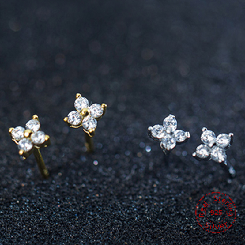 Cute Jewelry Delicate Girl Women Ear Stud Tiny CZ Flower Delicate 925 Sterling Silver Small cz stud minimalist flower earring