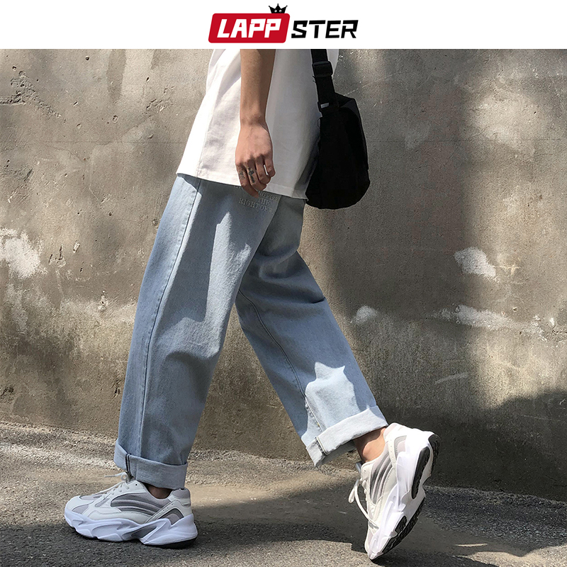LAPPSTER Men Jeans Pants 2019 Streetwear Joggers Denim Jeans Mens Designer Baggy Harem Pants Male Korean Style Denim Pants