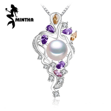 MINTHA 925 flor de plata sterling collar, joyería Fina collar llamativo, Perla colgante gema Amarilla, gema púrpura collar de Bohemia(China (Mainland))