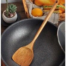 Длинная Деревянная Ручка Приготовление Риса лопатка Совок кухонная посуда антипригарная ручная лопатка для котелка с выпуклым днищем Новая мода