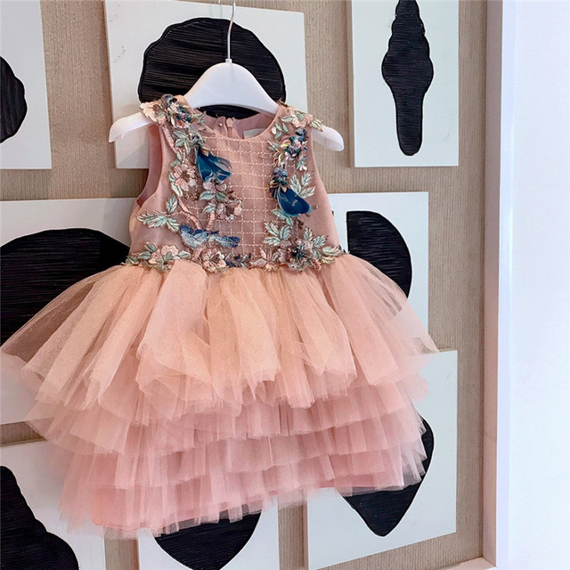527781105 2019 New Pink Princess Baby Girl Dress For Kids Embroidery Lace Dresses  Wedding Party Dress Costume Flower Children Clothings