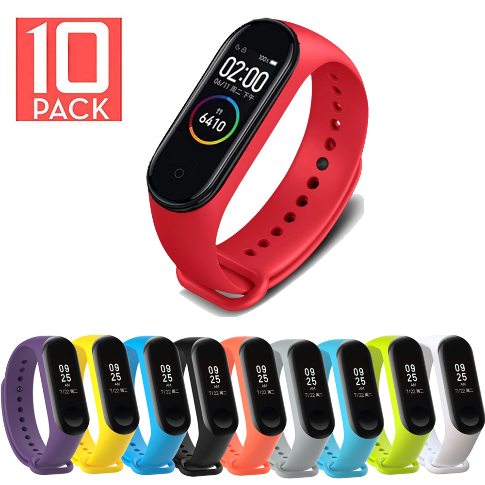 10Pcs/Pack For Mi Band 4 Strap Bracelet For Mi Band 4 MiBand 3 Strap Silicone Wrist Strap Miband 4 3 Accessories Bracelet Rubber