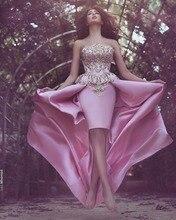 Von der schulter rosa hallo-lo prom kleider 2016 trägerlosen backless party kleid goldschnürsenkel applikationen abendkleider vestido de festa