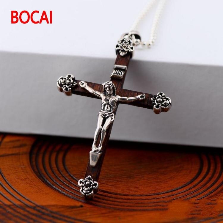 Pendentif croix jésus en argent sterling 925 noir