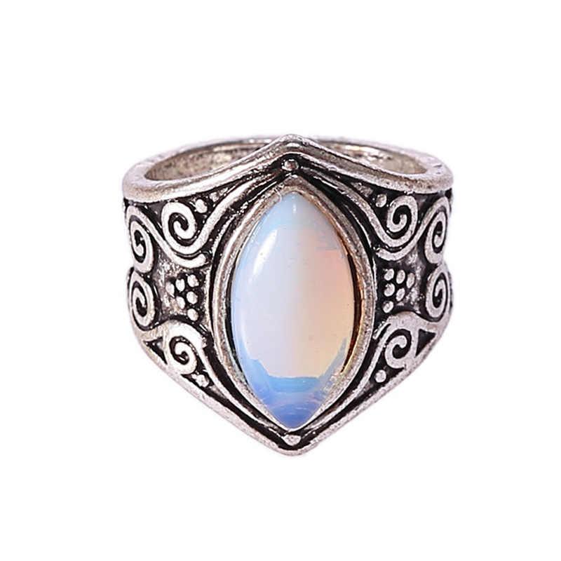VINTAGE ทิเบตเงินเงินคริสตัลแหวนผู้หญิง Boho โบราณอินเดียมูนสโตนแหวนเครื่องประดับหญิงสุภาพสตรีของขวัญ