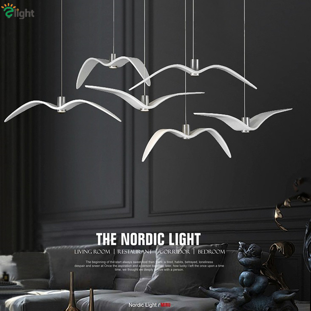 2016 Nordic Minimalism Resin Seagull Led Pendant Light Bar Coffee Deco Lighting Dining Room