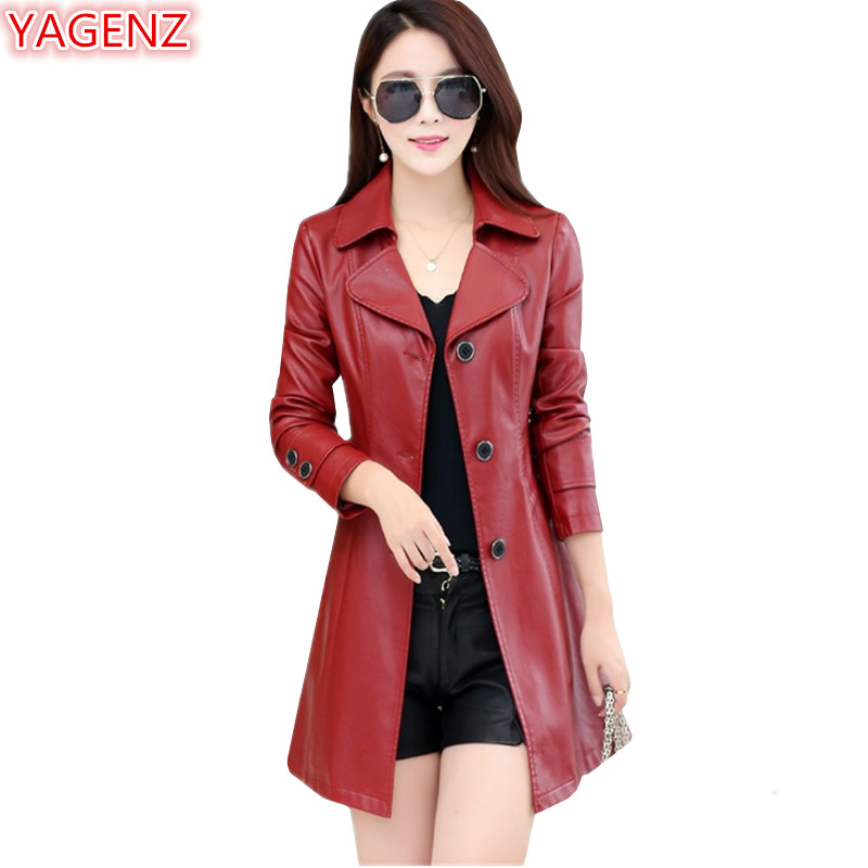 YAGENZ Spring Autumn Womens Clothing Leather Windbreaker Jacket Large Size Fashion Long  ...