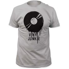 """Vinyl Junkie"" dripping record design men's t-shirt"