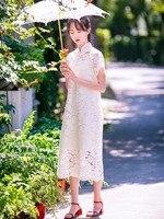 Линетт CHINOISERIE Летние оригинальные Дизайн Для женщин Китайский Стиль Cheongsam свободные кружевные платья