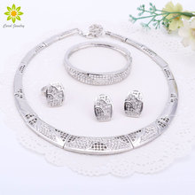 African Fashion Silver/Gold Color Necklace Bracelet Earrings Set Jewelry Women Wedding Gift Jewellry Sets