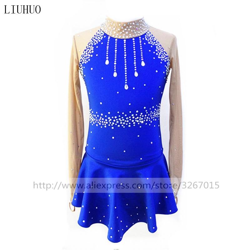 c082217863 Łyżwiarstwo Figurowe Sukienka damska Dziewcząt Skating Łyżwiarstwo Dress  Niebieski Elastan Koronka Nieelastyczna Wydajność Praktyka Zużycie Długim  rękawem