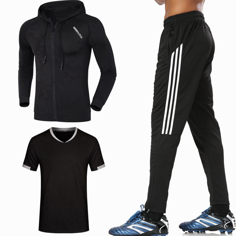 2018 Men Running Sets 3 pieces sets Compression Sports Suits Basketball Jacket shirts and Pants Clothes