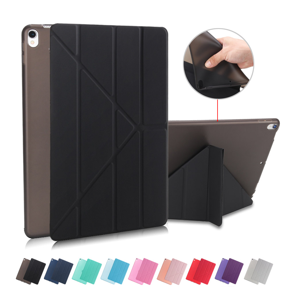 Redlai Case For New iPad Pro 10.5 2017 Multi-Fold Stand PU Leather Smart Cover Auto Sleep Soft TPU Back Case For Pad Pro 10.5 redlai colors crystal clear laptop case