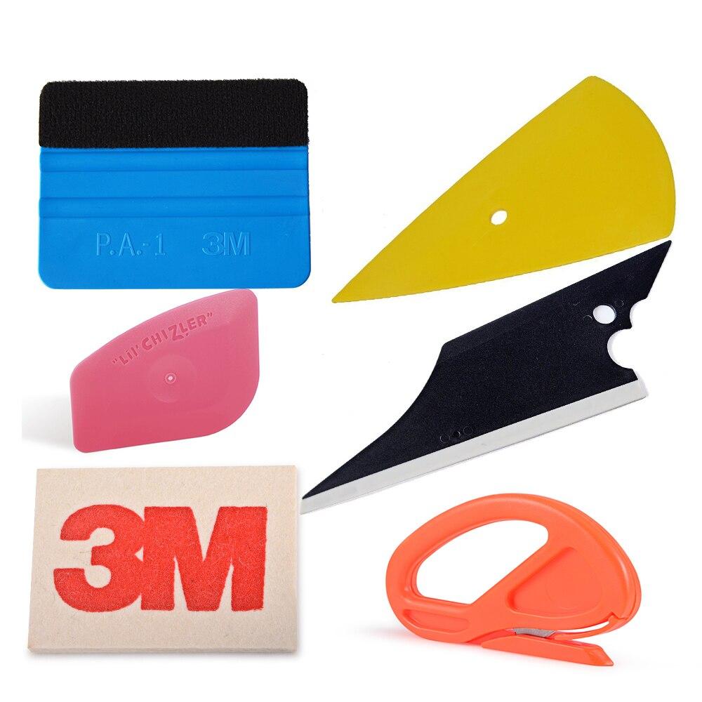 EHDIS Vinyle De Voiture Wrap Outil Kit Accessoires Fenêtre Teinte Outils 3 m Feutre Raclette Laine Grattoir En Fiber De Carbone Film de Sécurité snitty Cutter