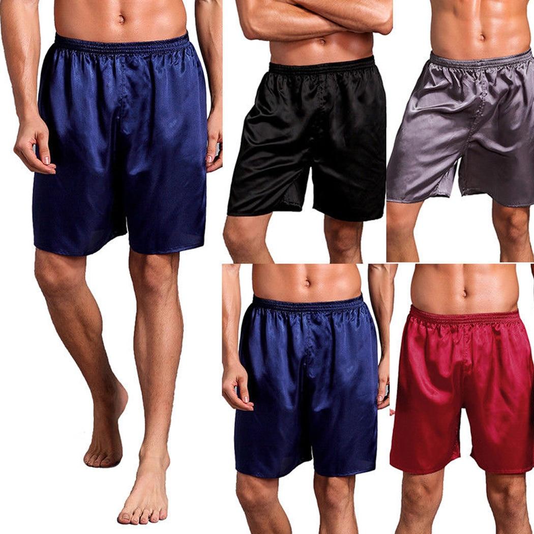 Men Silk Satin Pajama Shorts Homewear Sleepwear 2018 Mens Loose Solid Color Soft Boxer Underwear Sexy Male Underpants Nightwear