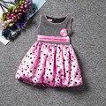 Verão crianças menina vestido preto Dot impresso princesa vestidos dos desenhos animados do traje crianças criança roupas venda Top apliques de flores