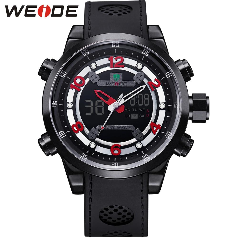 ФОТО WEIDE Brand Men's Military Quartz Watch Stainless Steel Buckle Stopwatch Analog Digital Display Sports Watches Relogio Masculino