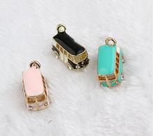 1 PC drops of oil Lucky Happiness Bus Enamel Pendant Charms Gold Tone crystal DIY Bracelet necklace Floating Charms(China)